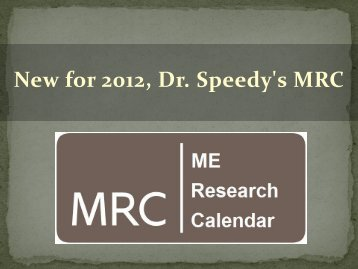 New Jersey Medical School - Dr Speedy and ME