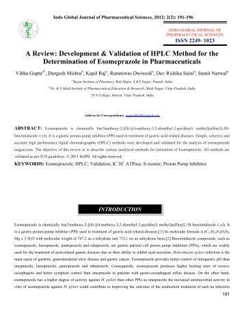 analytical method development and validation by hplc thesis
