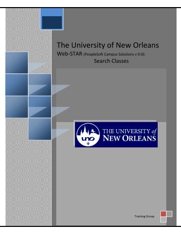 Search Classes - PeopleSoft @ UNO - University of New Orleans