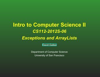Lecture notes - Computer Science - University of San Francisco