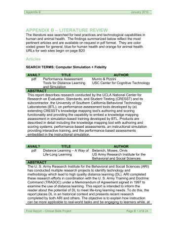 Project documentation literature review