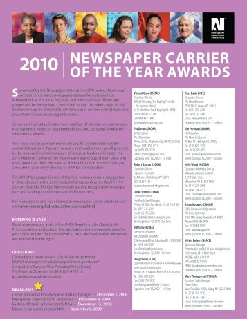 newspaper carrier newspaper carrier of the year awards - I-SCMA