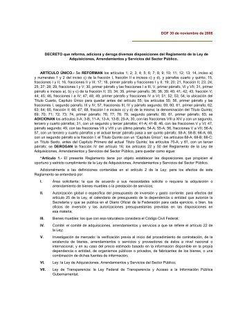 DOF 30 de noviembre de 2006 DECRETO que reforma, adiciona y ...