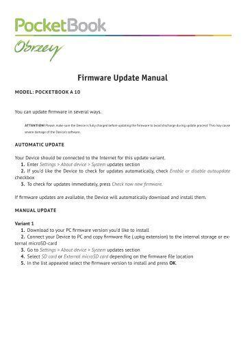 Firmware Update Manual - PocketBook