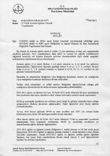 12 Yıllık Zorunlu Eğitime Yönelik Uygulamalar - Milli Eğitim Bakanlığı
