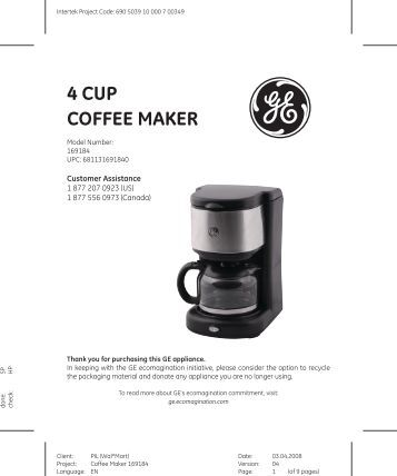 Ge Programmable Coffee Maker Manual : Russell Hobbs Abbey Lane Coffee Maker (Model #RHG601)