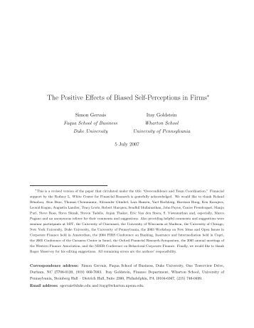 The Positive Effects of Biased Self-Perceptions in Firms