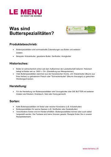 Facts rund um Butterspezialitäten zum Ausdrucken (PDF - Le Menu