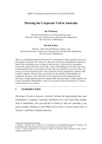 piercing the corporate veil in australia Irish courts have, to date, tiptoed around piercing the corporate veil in separation and divorce cases.
