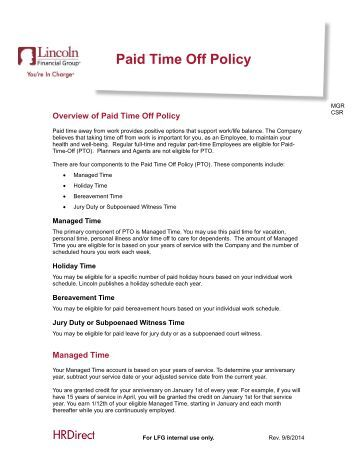 Paid time off extended sick bank policy procedure mercy for Paid time off policy template
