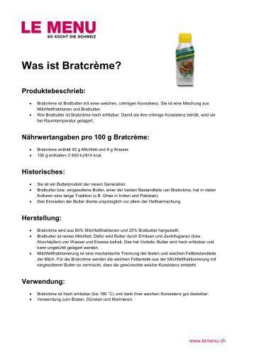 Facts rund um Bratcrème zum Ausdrucken (PDF - Le Menu