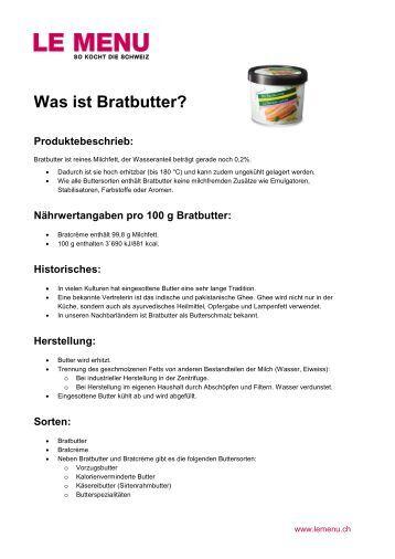 Facts rund um Bratbutter zum Ausdrucken (PDF - Le Menu