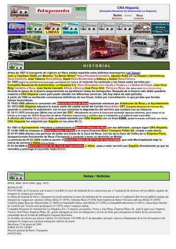 C R A La Hispania SA - Empresas Autobuses Líneas