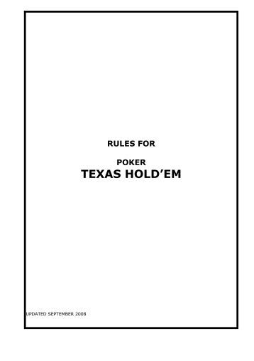 Limit texas holdem rules
