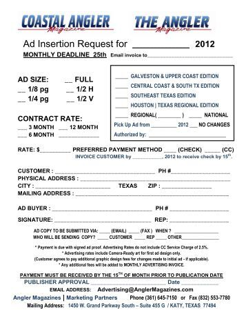 Display Ad Insertion Order Form Home Business Magazine