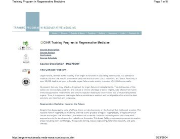 Page 1 of 8 Training Program in Regenerative Medicine 9/23/2004 ...