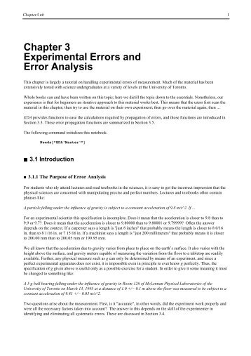 error analysis within an experiment Describe the types of error common in experimental research and provide  examples  methods of meta-analysis: correcting error and bias in research  findings.