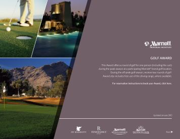 GOLF AWARD – For Reservation Instructions To Book Your - Marriott