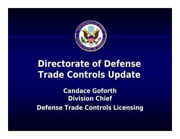 Directorate of Defense Trade Controls Update