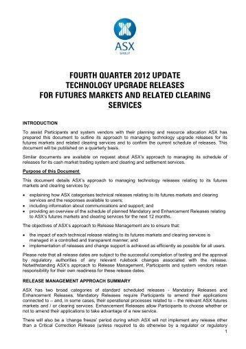 fourth quarter 2012 update technology upgrade releases for futures ...
