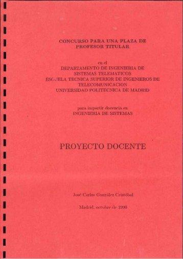Proyecto Docente del Concurso para una plaza de Profesor ... - DIT