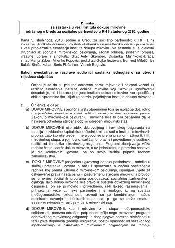 1 Bilješka sa sastanka u vezi instituta dokupa mirovine ... - SDLSN