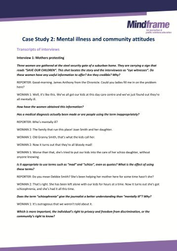mental illness case studies Bernalillo county mental health clinic case study a guide to juvenile detention reform #6 by the annie e casey foundation.