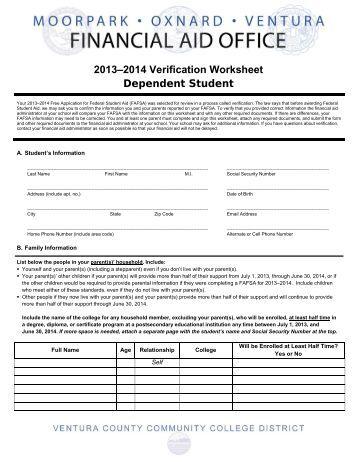 Dependent verification worksheet ucr