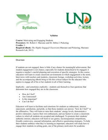 Syllabus Course: Motivating and Engaging Students Presenters: Dr ...