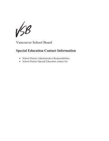 Vancouver School Board Special Education Contact Information