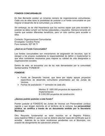 FONDOS CONCURSABLES - San Bernardo