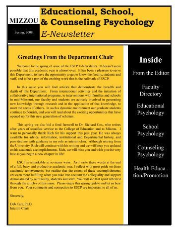 Educational, School, & Counseling Psychology E-Newsletter Inside