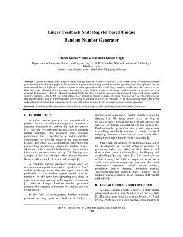 linear feedback shift registers essay Linear feedback shift registers for the uninitiated, part xi:  outputs from the  prng and compute summary statistics, these summary statistics.