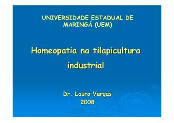 Homeopatia na tilapicultura industrial - SOVERGS