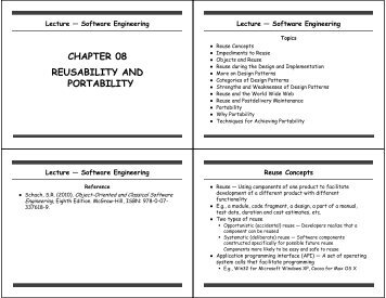 CHAPTER 08 REUSABILITY AND PORTABILITY