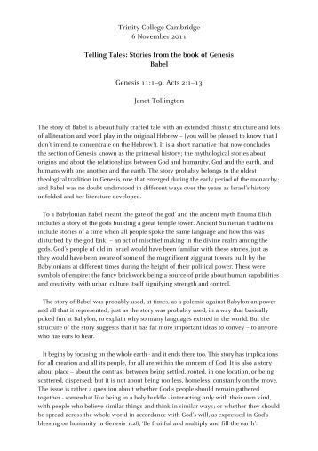 an interpretation of genesis 111 9 story about the tower of babel Summer series: the tower of babel genesis 11:1-9 the bible front to back prepared by:  in this week's passage we come to the story of the tower of babel.