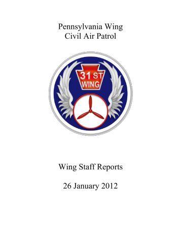 Pennsylvania Wing Civil Air Patrol Wing Staff Reports 26 January ...