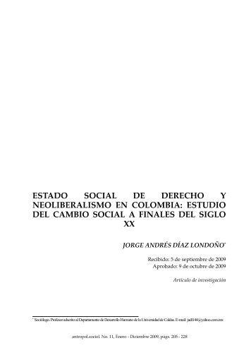 estado social de derecho y neoliberalismo en colombia: estudio del ...