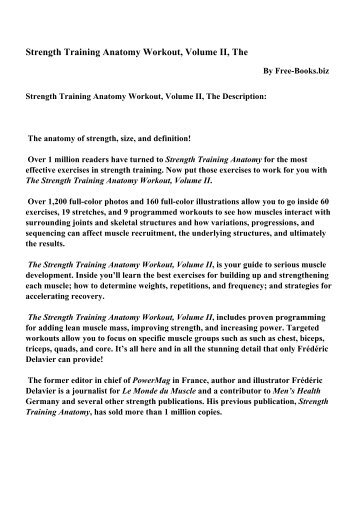 Strength Training Anatomy Workout Volume Ii The Pdf Ebooks
