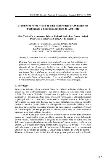 Instruções aos Autores de Contribuições para o ... - INF-Unioeste