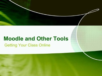 Moodle and Other Tools - Schools pages
