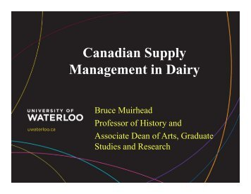 Canadian Supply Management Perspective - Dairy Farmers of Ontario