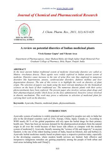 A review on potential diuretics of Indian medicinal plants - Journal of ...