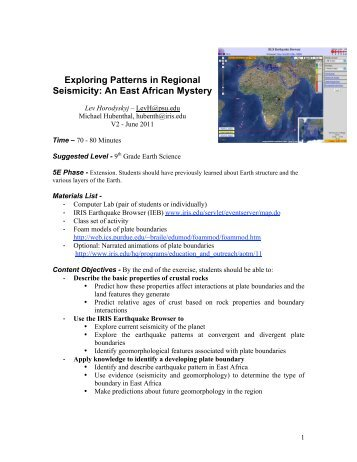 Exploring Patterns in Regional Seismicity: An East African ... - IRIS
