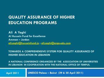 Quality Assurance of Higher Education Programs Ali A Yaghi Al ...