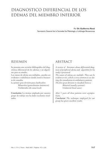 diagnostico diferencial de los edemas del miembro inferior