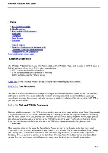 Pinedale Anticline Fact Sheet
