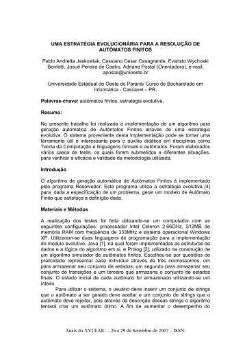 Uma Estratégia Evolucionária para a Resolução de ... - INF-Unioeste