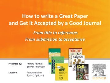 How to write a Great Paper and Get it Accepted by a ... - CNUDST
