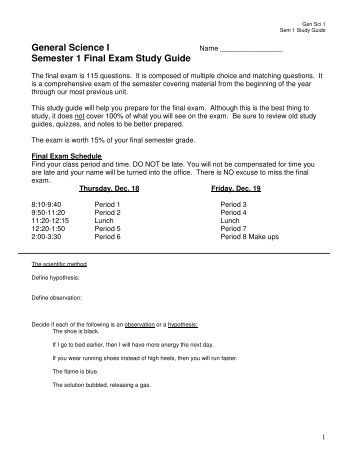 notes final exam semester 2 Honors chemistry - semester 2 final exam study guide units 6 – 10 period 3­5 – final exam = monday, may 23 rd , 2016 unit 6 – the mole and stoichiometry.